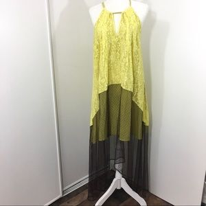 RYU Anthropologie Yellow Keyhole Maxi Dress